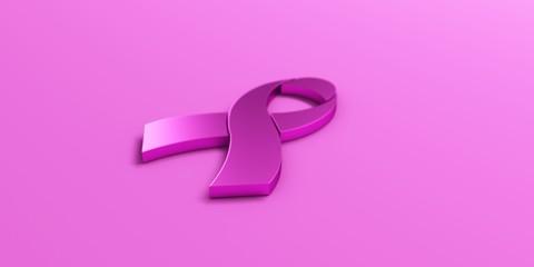 Pink Ribbon in Light Pink background. 3D Render illustration