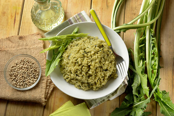 risotto with chicory - traditional Italian recipe - vegetarian recipe