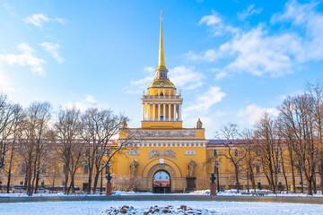 Saint Petersburg. Winter in Russia. Admiralty in Petersburg. St. Petersburg in the winter. Panorama cities of Russia.
