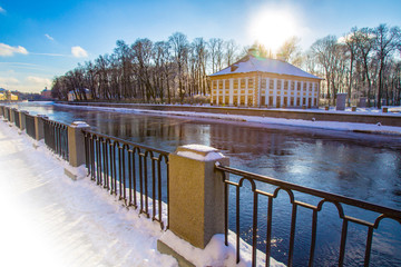 Channels of St. Petersburg. River Fontanka. Winter. Petersburg in the winter. Russia. Architecture of St. Petersburg. Embankment of the river fantanka. View of the Summer Garden.