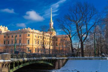 St. Petersburg in the winter. Engineering lock. Architecture of Russia. Museums of St. Petersburg. Streets of Petersburg.