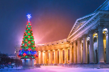 New Year in St. Petersburg. Christmas tree. Petersburg in the winter. Kazan Cathedral. Russia. Christmas in Russia. Saint Petersburg.