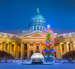 Saint Petersburg. Winter. Kazan Cathedral. Petersburg in the winter. Christmas tree. New Year in St. Petersburg. Christmas tree. Museums of St. Petersburg. Russia in the winter.