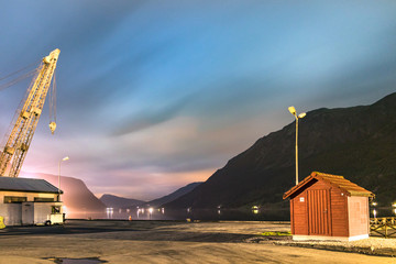 View of the coastline road Fv331 and the Eidselvi River at night in Skjolden, Luster, Norway.