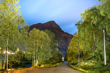 Night view of the coastline road of Skjolden next to the road Fv 331 and the Eidselvi River.