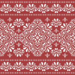 Red and white floral seamless pattern. Vintage vector, paisley elements. Traditional,Turkish, Indian motifs. Great for fabric and textile, wallpaper, packaging or any desired idea.