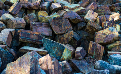 Iron ore mineral rich cut ornamental stone