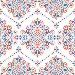 Beautiful blue and orange floral seamless pattern. Vintage vector, paisley elements. Traditional,Turkish, Indian motifs. Great for fabric and textile, wallpaper, packaging or any desired idea.