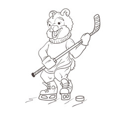 Bear hockey player. Coloring page.