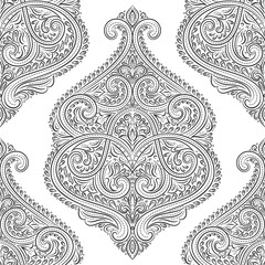 Beautiful black and white floral seamless pattern. Vintage vector, paisley elements. Traditional,Turkish, Indian motifs. Great for fabric and textile, wallpaper, packaging or any desired idea.