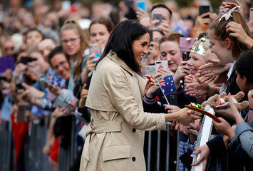 Meghan, Britain's Duchess of Sussex, meets members of the public at the Royal Botanic Gardens in Melbourne