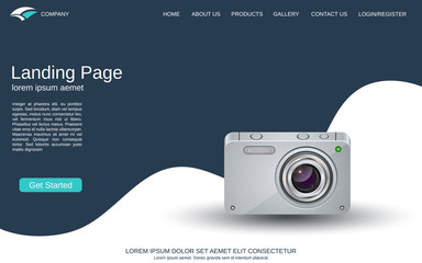 Website landing page design template. Blue-white vector background with photo camera illustration