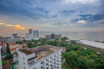 Pattaya - Chonburi: 15 October 2018, Amari Residences Pattaya, overlooking Viewpoint Pattaya Sea island, located in Pratumnak Hill, Thailand.