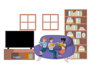 group of people with book in livingroom avatar character