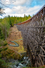 Kinsol Trestle wooden abandoned railroad bridge in Vancouver Island, BC