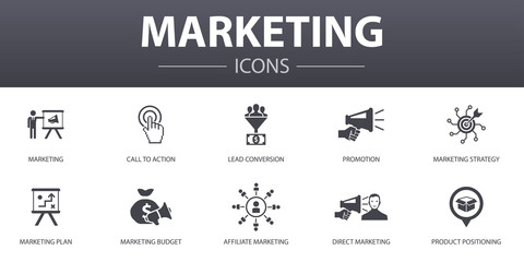 marketing simple concept icons set. Contains such icons as call to action, promotion, marketing plan, marketing strategy and more, can be used for web, logo, UI/UX