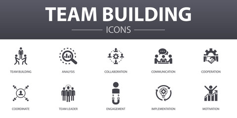 team building simple concept icons set. Contains such icons as collaboration, communication, cooperation, team leader and more, can be used for web, logo, UI/UX