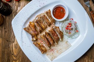 Kebab from lamb ribs