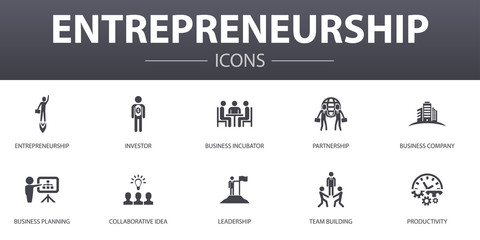 Entrepreneurship simple concept icons set. Contains such icons as Investor, Partnership, Leadership, Team building and more, can be used for web, logo, UI/UX