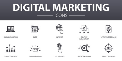 Digital marketing simple concept icons set. Contains such icons as internet, Marketing research, Social campaign, Pay per click and more, can be used for web, logo, UI/UX
