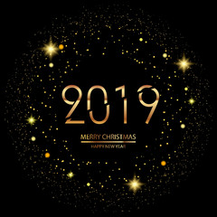 Happy New Year or Christmas background with gold confetti. 2019. Vector