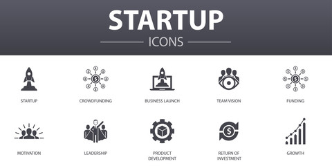 Startup simple concept icons set. Contains such icons as Crowdfunding, Business Launch, Motivation, Product development and more, can be used for web, logo, UI/UX