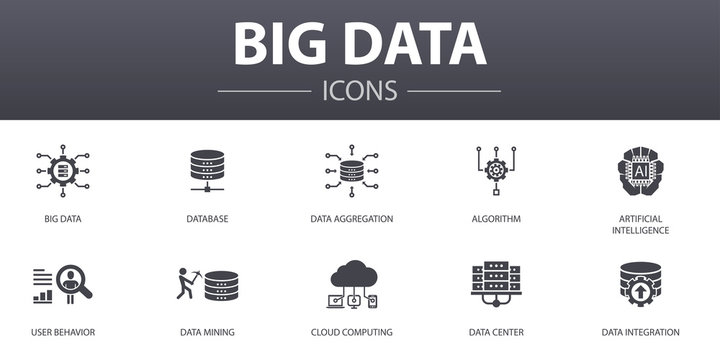 Big data simple concept icons set. Contains such icons as Database, Artificial intelligence, User behavior, Data center and more, can be used for web, logo, UI/UX