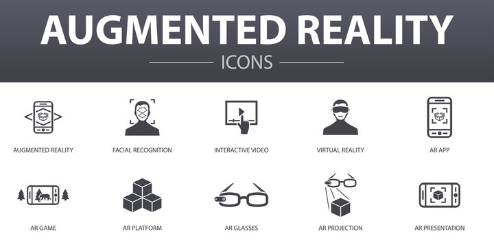 Augmented reality simple concept icons set. Contains such icons as Facial Recognition, AR app, AR game, Virtual Reality and more, can be used for web, logo, UI/UX