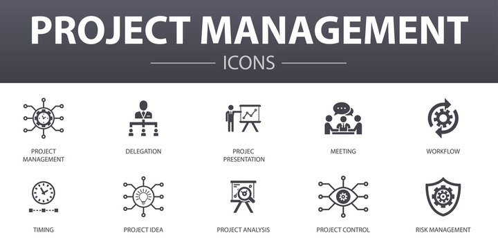 Project management simple concept icons set. Contains such icons as Project presentation, Meeting, workflow, Risk management and more, can be used for web, logo, UI/UX