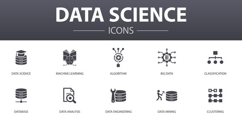 Data science simple concept icons set. Contains such icons as machine learning, Big Data, Database, Classification and more, can be used for web, logo, UI/UX