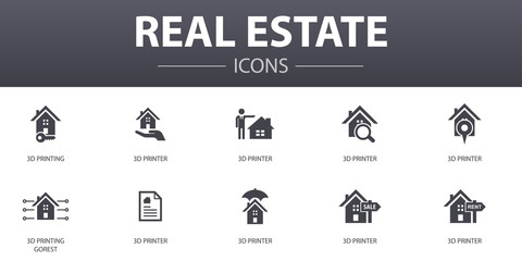 Real Estate simple concept icons set. Contains such icons as Property, Realtor, location, Property for sale and more, can be used for web, logo, UI/UX