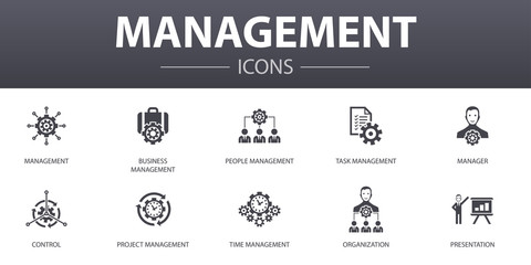 management simple concept icons set. Contains such icons as manager, control, organization, presentation and more, can be used for web, logo, UI/UX