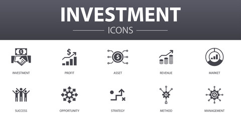 Investment simple concept icons set. Contains such icons as profit, asset, market, success and more, can be used for web, logo, UI/UX