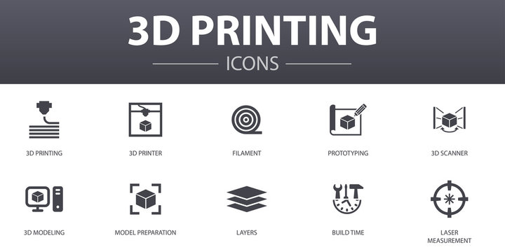 3d printing simple concept icons set. Contains such icons as 3d printer, filament, prototyping, model preparation and more, can be used for web, logo, UI/UX
