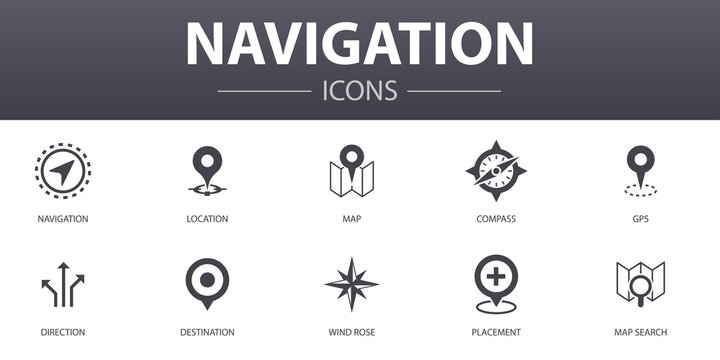 Navigation simple concept icons set. Contains such icons as location, map, gps, direction and more, can be used for web, logo, UI/UX