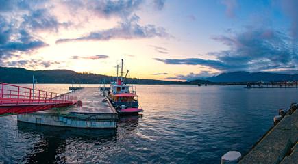 Panoramic view of Port Alberni dock in Vancouver Island, BC, Canada