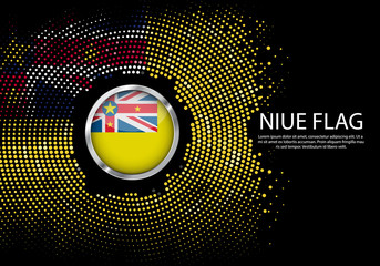 Background Halftone gradient template or LED neon Light on round Dots style of Niue flag.  Modern soccer cup for futuristic background with circle metallic round of Niue flag. Vector.