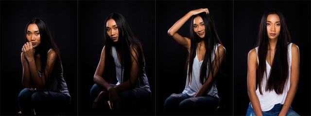 Asian Long straight black hair tan skin woman