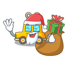 Santa with gift clockwork toy car isolated on mascot