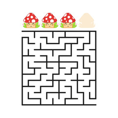 A colored square labyrinth with an entrance and an exit. Difficulty level. Lovely toon. Simple flat vector illustration isolated on white background.