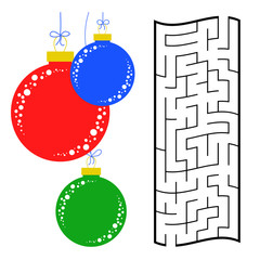 Abstract rectangular maze with a color picture. Round Christmas balls. An interesting and useful game for children. Simple flat vector illustration isolated on white background.