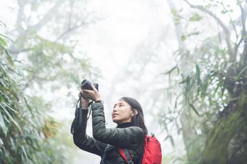 緑の中でカメラを構え写真を撮る女性