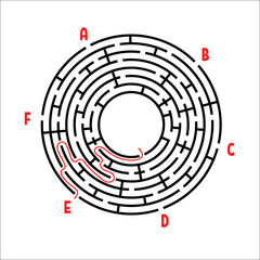 Abstract round maze. Game for kids. Children's puzzle. Six entrances, one exit. Labyrinth conundrum. Simple flat vector illustration isolated on white background. With the answer.