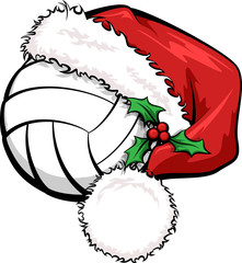A volleyball with a Santa cap decorated with holly for Christmas.