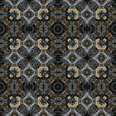 Ornamental Colourful Seamless High Resolution Pattern in blue and  brown