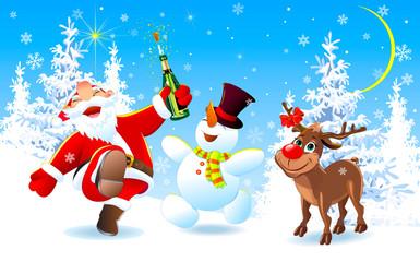 Jolly Santa, a deer and a snowman on Christmas Eve