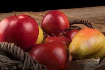 Organic apples grown in a local orchard, the concept of healthy food from autumn fruits