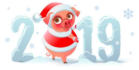 2019 year of pig on Chinese calendar. Santa Claus pig and snowfall text