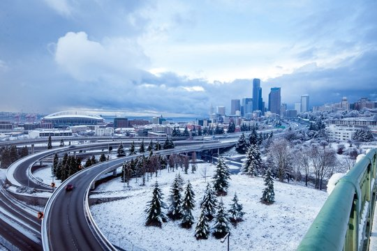 Blue hour during a snow storm on the Seattle skyline
