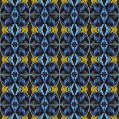 Ornamental Colourful Seamless High Resolution Pattern in blue and yellow